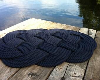 Nautical Decor - Nautical Bathmat - Navy Blue Cotton Rug