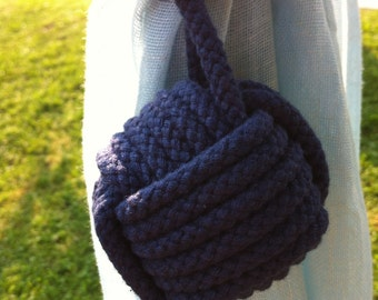 Nautical Tieback - 2 Navy Blue Rope Curtain Tie Backs