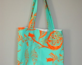 Essential Lined Fabric Tote - Orange and Turquoise - Beach Bag - Book Bag - Market Tote