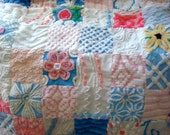CUSTOM QUILT SAMPLE - Pink Bougainvillea and Tropical Waters Vintage Chenille Quilted Coverlet