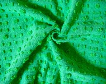 Morgan Jones Bright Green Dot Dash Vintage Cotton Chenille Bedspread Fabric 18 x 24 Inches