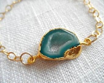 Blue agate bracelet - gold bracelet - agate bracelet - blue bracelet - D R U Z Y 296