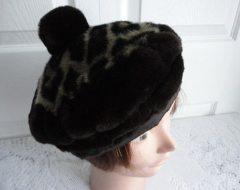 Vintage Brown Leopard Print Faux Fur Beret  Women Hat 70s Large 23 inches