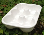 Egg crate, egg carton, ceramic, white, half dozen, egg tray