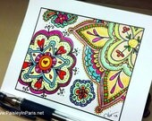 Floral Doodle Illustration, Printable Coloring Page, Zentangle
