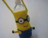 Minion Crochet Water Bottle Holder Inspired by Despicable Me - Back to school - 100 mile club
