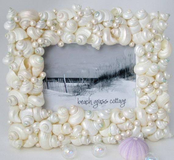 Beach Decor Pearl Seashell Frame - Nautical Decor Shell Frame of White Turbo Shells, 5x7