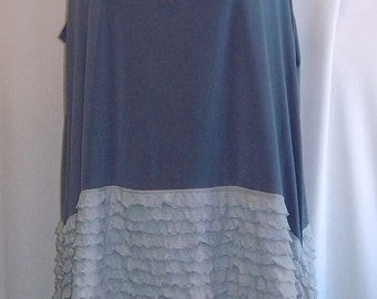 Coco and Juan Lagenlook Plus Size  Gray Ruffle Asymmetric Tank Top Size 2 Fits 3X,4X Bust  to 60 inches