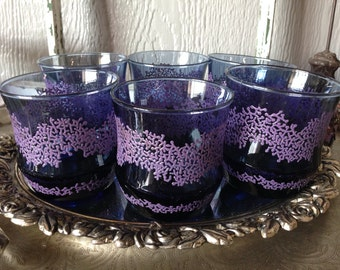 Fabulous Navy & Lilac Vintage Drinking Glasses