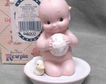 Kewpie Enesco Taking a Bath with Duck