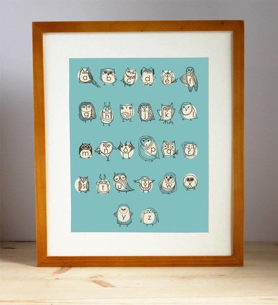 Turquoise Alphabet Nursery Art Print, Owl Alphabet Print, Baby Nursery Print, Owl Print, Kid's Owl Alphabet Art, Kid's Wall Art