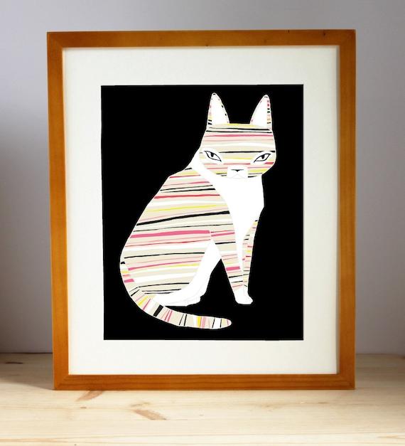 Neon Striped Cat Print, Striped Cat Illustration, Cat Art Print, Feline Artwork, Cat Lady Art, Animal Lover Art Print, Home Decor