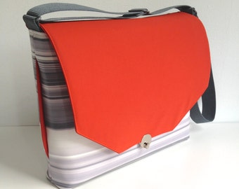 Shoulderbag in Orange and Grey Vinyl, Vinyl Purse in Orange and Gray, Vinyl Laptop Bag, Crossbody Bag - Free US Shipping