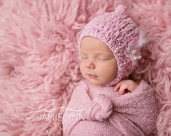 Baby Shower Gift Newborn Girl Hat Photo Prop Spring Knitted Going Home Pixie Photography Hand Knit Bonnet Coming Spring Outfit Chinstrap