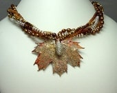 Patinated Copper Maple Leaf Necklace
