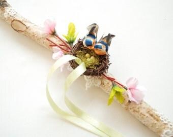 love nest, wedding party, alternative ring bearer pillow, love birds, birch branch bough, nature, woodland wedding, engagement ring bearer