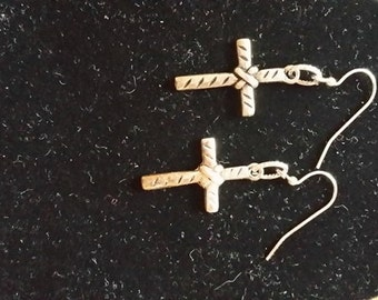 Beautiful Silvertone Cross Earrings