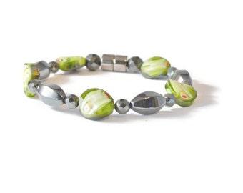 Green/Black Magnetic Hematite Bracelet for Women