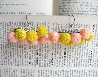 vintage celluloid rose earrings assemblage shabby chic pink yellow