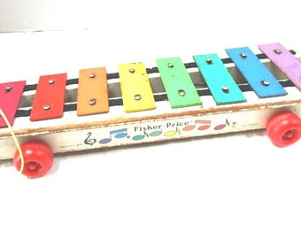 Vintage Fisher Price Pull A Tune Xylophone, 870 Classic Pull and Play Toy, Music Maker, Toddler Toy, Primary Colors, Nursery Wall Art