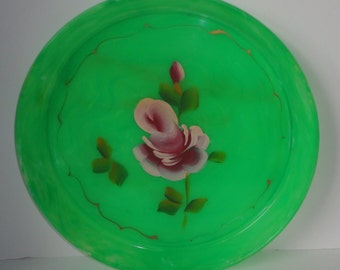 Vintage Green Lucite Round Tray with Hand Painted Pink Rose.