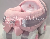 Baby Carriage Diaper Cake in Many Colors - gift or centerpiece for baby shower
