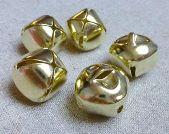 10pcs - Big 20 mm light gold jingle bells Charm Christmas Pendant, free shipping within UK