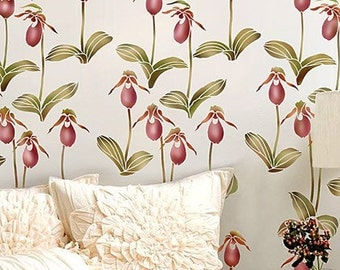Lady's Slipper Allover Floral Pattern Stencil  - Reusable stencils for  DIY wall decor - better than wallpaper!