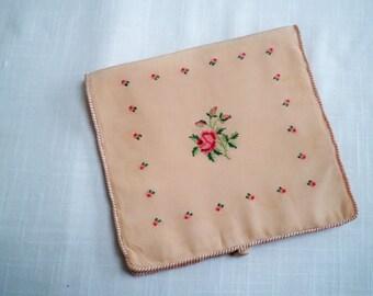 Vintage Case 1920's Hosiery /  Handkerchief Fabric Case Rose Motif