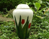 Cream Stoneware Urn with Leafy Red Tulips/ handmade pottery