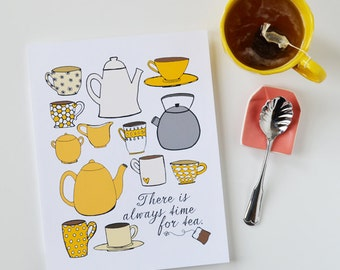 Mother's Day gift, CHOOSE your color, time for tea, I love tea, Tea lover, teapot, tea cup, Kitchen Art, Kitchen Decor, 8 x 10 Art Print