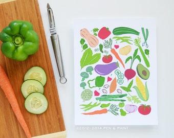 Vegetables, Farmer's Market, Homegrown, Fresh Veggies, Kitchen Decor, Cooking, I love to cook, Eat, Herbs, Illustration, Art Print, Garden