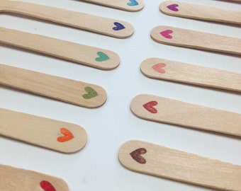Quantity 25 Hand Stamped Wooden Utensils - Small Heart in Color Choice