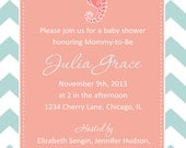 Seahorse Baby Shower Invitation - You Print - 4x6 or 5x7