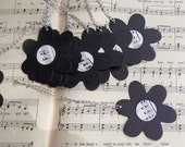 black daisy tag with vintage music center- card stock - die cut - set of 10