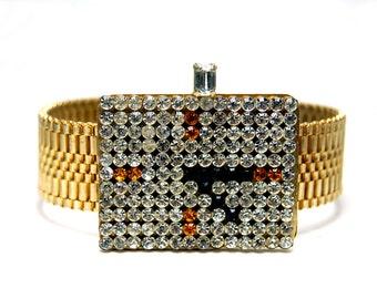 Swarovski Crystal Wrist Watch Bracelet Idemaria Italy Pop 1980 Rhinestone
