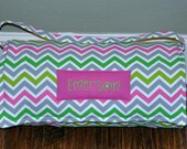 Nap Mat - Monogrammed Lime Green & Candy Pink Chevron Nap Mat with Hot Pink Double-sided Minky or Minky Dot Blanket