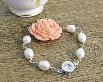 Bridal Bracelet Freshwater Pearl. Wedding Flower Statement Pink Ivory Peach Peony Floral Corsage Cabochon Jewellery. Jewelry Nymfi Handmade