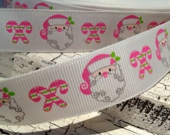 "3 yards 7/8"" Christmas SANTA and Candy Cane Grosgrain Ribbon"