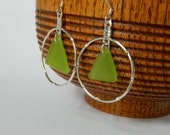 Lime Green Seaglass Bamboo Hoop Earrings