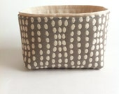 mini fabric storage bin // textured gray and cream // modern basket