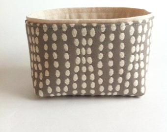 mini fabric storage bin // textured gray and cream // modern basket