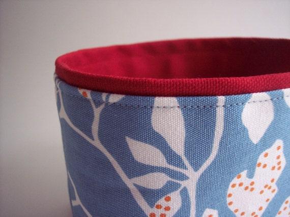blue and red little fabric storage bin // storage basket // last one
