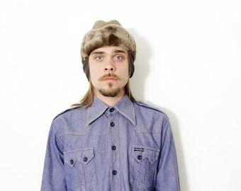 Vintage shirt / mens blue jean shirt / size M-L