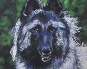 Belgian Tervuren dog art CANVAS print of LA Shepard painting 12x12 portrait