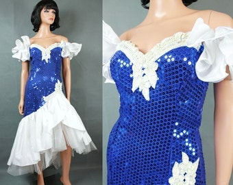 80s Prom Dress XS Vintage Blue White Sequins Beaded Wiggle Mermaid Pageant Gown Free US Shipping