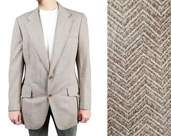 Mens Vintage Blazer 40R 70s Beige Brown Off White Herringbone Print Jacket Coat Free US Shipping