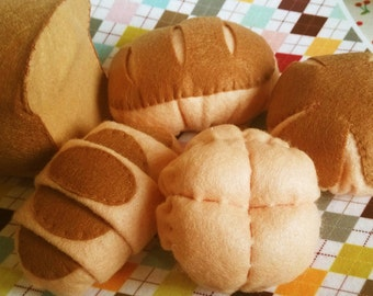 DIY felt Lovely bread set(5 in 1)-- PDF tutorial and pattern- F11-A