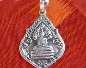 Charm Amulet sterling Silver Buddha Pendant / Silver 925 / 1.25 inch long / Buddha under protection of Naga King