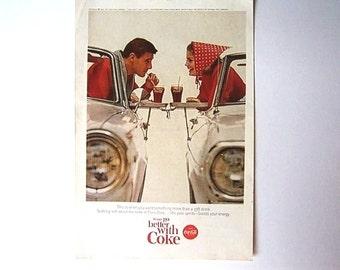 Original Vintage AD Advertisement Kitchen Print   *Additional Ads Ship Free*  COCA COLA Drive-In